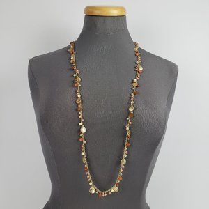 Jewelry - Gold & Coral Beaded Long Necklace